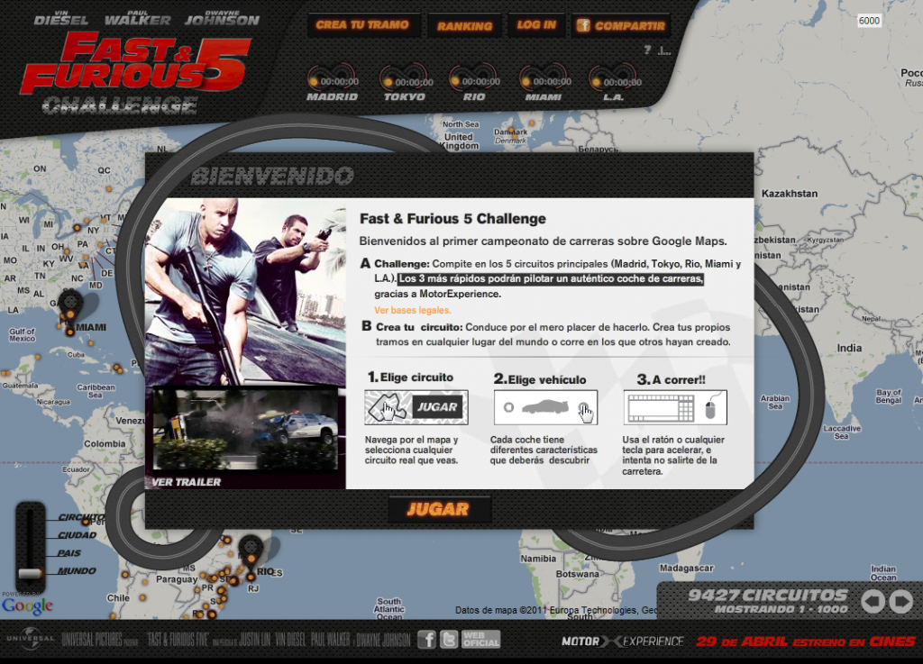 Juego ONLINE FAST AND FURIOUS 5 CHALLENGE (A todo gas 5)